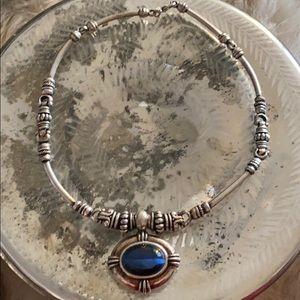 Blue stone silver choker